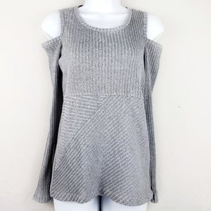 Mark gray cold shoulders knit sweater